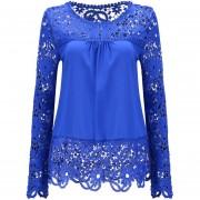 Camisa De Gasa De Encaje Manga Larga Flores Caladas -Azul Marino