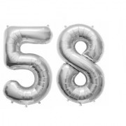 De-Ultimate Solid Silver Color 2 Digit Number (58) 3d Foil Balloon for Birthday Celebration Anniversary Parties