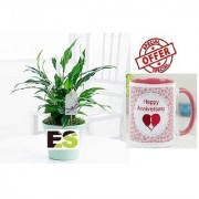 ES PEACH LILLY LIVE PLANT With Gift Anniversary Gift Mug