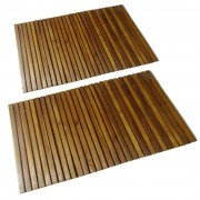 vidaXL 2 pc Tapetes de banho de acácia 80 x 50 cm