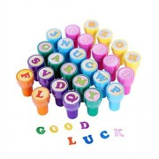 ROSENICE 26pcs Self-ink Stamps Stampers Alphabet Letters Seal Stamp Set