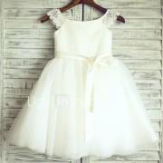 prinses knie lengte bloem meisje jurk - tule korte mouwen scoop nek door thstylee