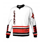 Unihoc Goalie Sweater Feather White/Neon Red SR XXL