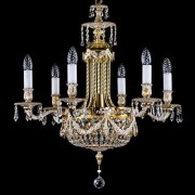 Candelabru cristal Bohemia 6 brate, diam.63cm FOUNTAIN white gold CE