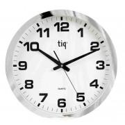 Ceas rotund de perete, D-400mm, cifre arabe, TIQ - rama plastic cromata - dial alb