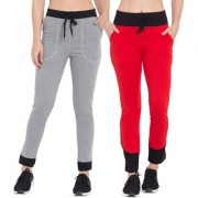 Cliths Grey Black Red Black Solid Cotton Lower for Women Stylish Pack of 2|Yoga Pant For Women