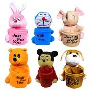 Famekart Apuu, Pooh, Micky, Rabbit, Dog, Doramon Character Soft Toys Pen stand Set Of 6