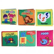 TOYMYTOY Baby Toddler Board Books Soft Cloth Book Set Intelligence Development Cloth Book Toys 6Pcs