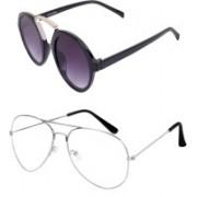 Barbarik Round, Aviator Sunglasses(Clear, Black)