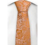 Notch Smal Slips i Siden - Bas i champagne med blommönster i orange