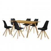 [en.casa] Set de comedor mesa bambú 180x80 + 6 sillas negras tapizadas piel sintética