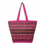 Merkloos Roze/zwarte strand tas aztec print Itza 58 cm