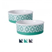 Bone Dry Paw Lattice Print Non-Skid Ceramic Dog & Cat Bowl Set, 0.75-cup, 2 count