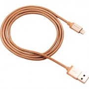 CANYON Charge & Sync MFI braided cable with metalic shell, USB to lightning, certified by Apple, 1m, 0.28mm, Golden