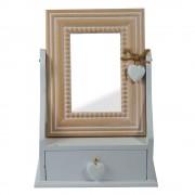 Oglinda cu inimioara si sertar pentru depozitare bijuterii