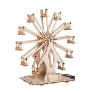 Jucarie educationala copii model Roata Ferris DIY kit experiment stiintific Puzzel 3D din lemn cu motoras interactiva 014