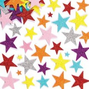 Baker Ross Star Stickers - 150 Glitter Foam Stickers in 25 assorted designs & 7 colours. Size 15mm, 35mm & 50mm.