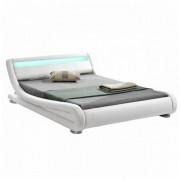 FILIDA Luxus modern ágy laminált ráccsal RGB LED világítással fehér ekobőr 160x200