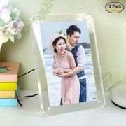 "leoyoubei leoyoubei multi-color Premium Acrylic Magnet Photo Frame Block 5x7""easy to change photos - poster advertising gallery logo menu photography display 2Pack(Clear)"