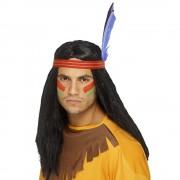 Lång Svart Indian Peruk