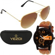 107-OW Golden Aviator Sunglasses With Free Wake Wood Watch