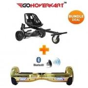 "Monster Hoverkart & 6.5"" Bluetooth Hoverboard Chrome Gold Go Monster Bundle"