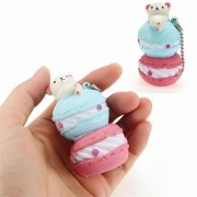 Squishy Macaroon Bear With Ball Chain Tag Phone Bag Strap Collection Gift Decor Soft Toy