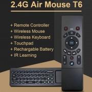 T6 Air Mouse 2.4 GHz draadloze toetsenbord afstandsbediening met Touchpad & IR leren voor PC Android TV Box / Smart TV multimedia apparaten