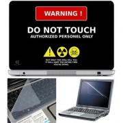 Finearts Laptop Skin Do Not Touch With Screen Guard And Key Protector - Size 15.6 Inch