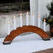 Reddish brown candleholder Viking Bow, 7 lights