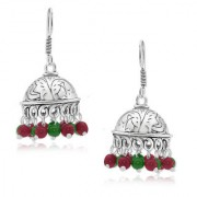 Spargz Classic Red Green Bead Oxisidised Silver Long jhumka Earrings For Women AIER 658