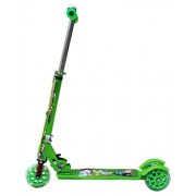 Amardeep Baby Three Wheeled Height Adjustable Scooter with Wheel Lights and Anti Slip Foot Grip, Green