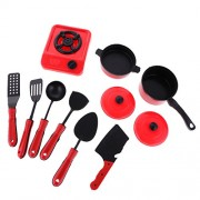 Segolike 9/11/13Pcs Plastic Children Kids Simulation Kitchen Cookware Set Pretend Role Play Toys - red, Red 9 Pieces Set