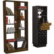 Combo TuHome Biblioteca + Bar - Caramelo/Wengue