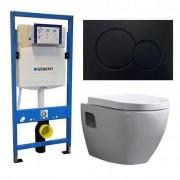 Douche Concurrent Geberit UP 320 Toiletset - Inbouw WC Hangtoilet Wandcloset - Daley Sigma-01 Mat Zwart