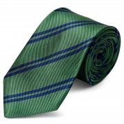 TND Basics Grüne & Marineblaue Doppelstreifen Seidenkrawatte 8cm