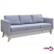 vidaXL Sofa Trosjed od Tkanine Svijetlo Sivi