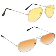 Magjons Fashion Combo Of Orange Yellow Aviator Sunglasses