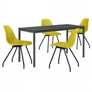 PremiumXL - [en.casa] Dizajn blagovaonski set - stol (tamno sivi, 140x60cm) - sa 4 stolice(senf žute)