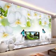 HYXMK Papel tapiz mural 3D personalizado Orquídea blanca moderna Papel tapiz no tejido Papel tapiz impreso sofá de la sala de estar
