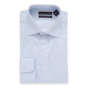 【86%OFF】ストライプ スプレッドカラー フィットシャツ ライトブルー 16.5/34 ファッション > メンズウエア~~その他トップス