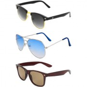 Zyaden Combo of 3 Sunglasses Aviator Wayfarer & Clubmaster Sunglasses