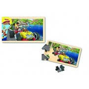 Mickey si Pilotii de curse - Puzzle lemn, 15 piese