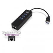 Ewent EW1140 USB 3.1 HUB 3 Port + Gigabit port Black