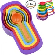 Smile Mom Plastic Measuring Cup and Spoon Set Best Kitchen Tool for Cooking Food Baking Cake etc (6 Pcs Colourful)