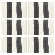 vidaXL 6 darab fehér-antracitszürke csíkos pamut rongyalátét 30 x 45 cm