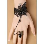 Bracciale bijoux macramè Victorian Black Gothic