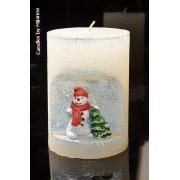 Designkaarsen com Sneeuwman winterkaars, hoogte: 10,5 cm BLAUW - Kerst - kaarsen