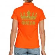 Bellatio Decorations Koningsdag poloshirt Queen goud glitter oranje voor dames