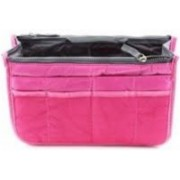 fayby Travel Nylon Hand Bag Cosmetic Pouch Makeup Organizer (Pink) Travel Toiletry Kit(Pink)